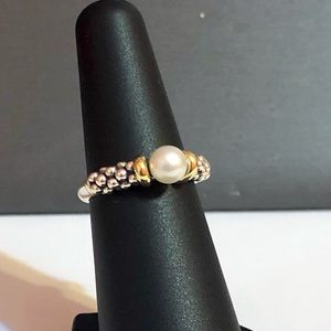 Lagos Caviar collection 18kYG & 925 pearl ring